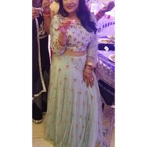 Light blue lehenga Indian outfit